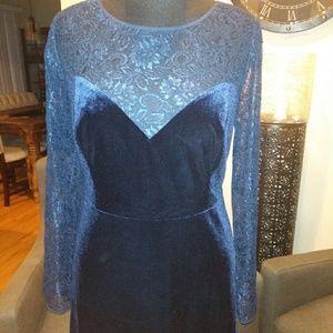 ModCloth Blue Velvet &Lace Dress